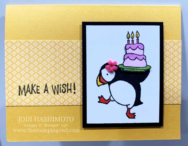 20210522 Birthday Cake Puffin card